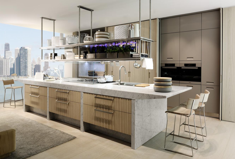 Мраморная отделка кухонного острова Arclinea в интерьере