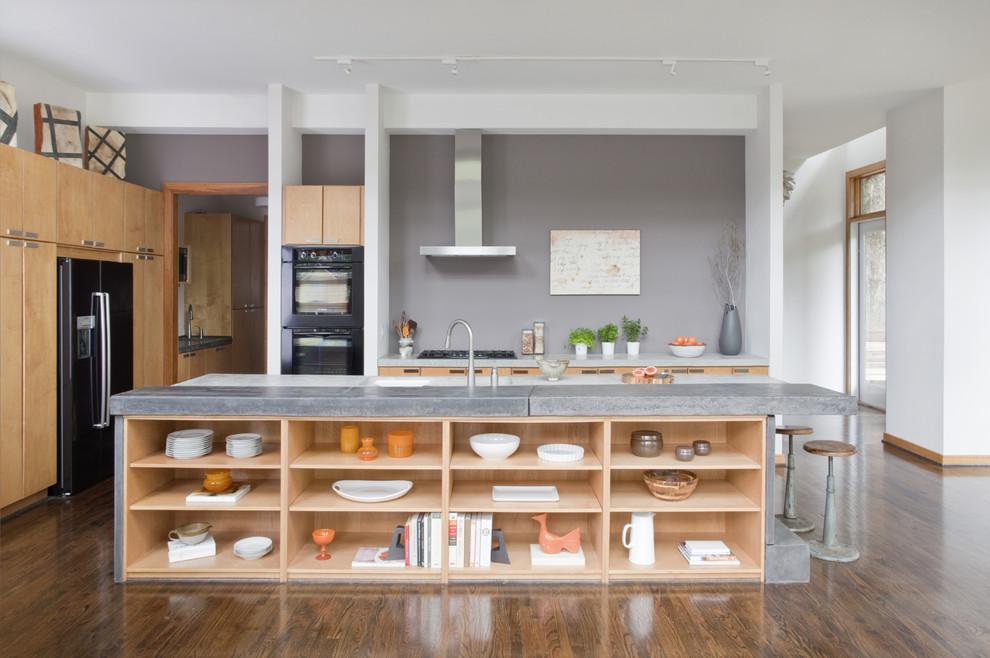 Дизайн кухонного острова - открытые полки