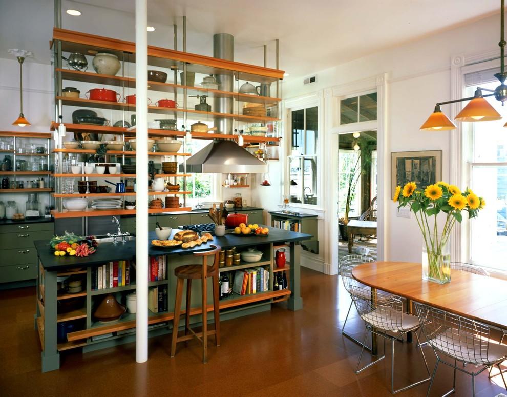Дизайн кухонного острова - полочки для хранения