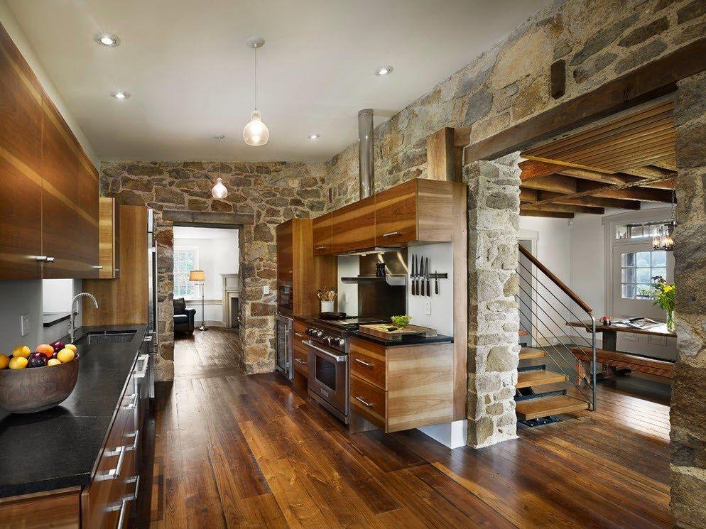 Камень в интерьере кухни придаёт натуральности и комфорта