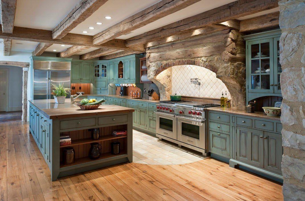 Камень в интерьере кухни загородного дома - фото 3