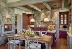 Камень в интерьере кухни современного дома