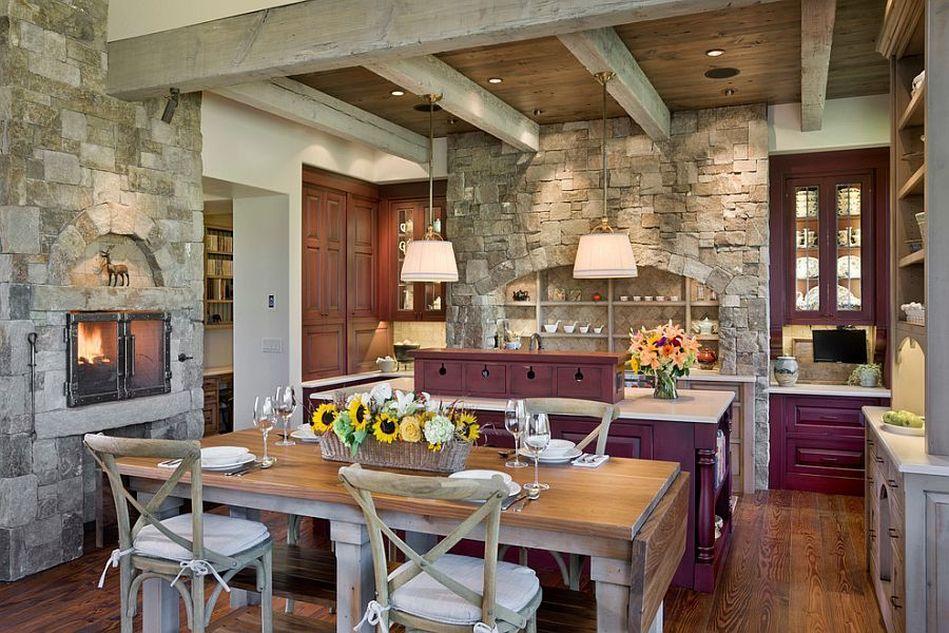 Камин из камня в интерьере кухни - фото 3