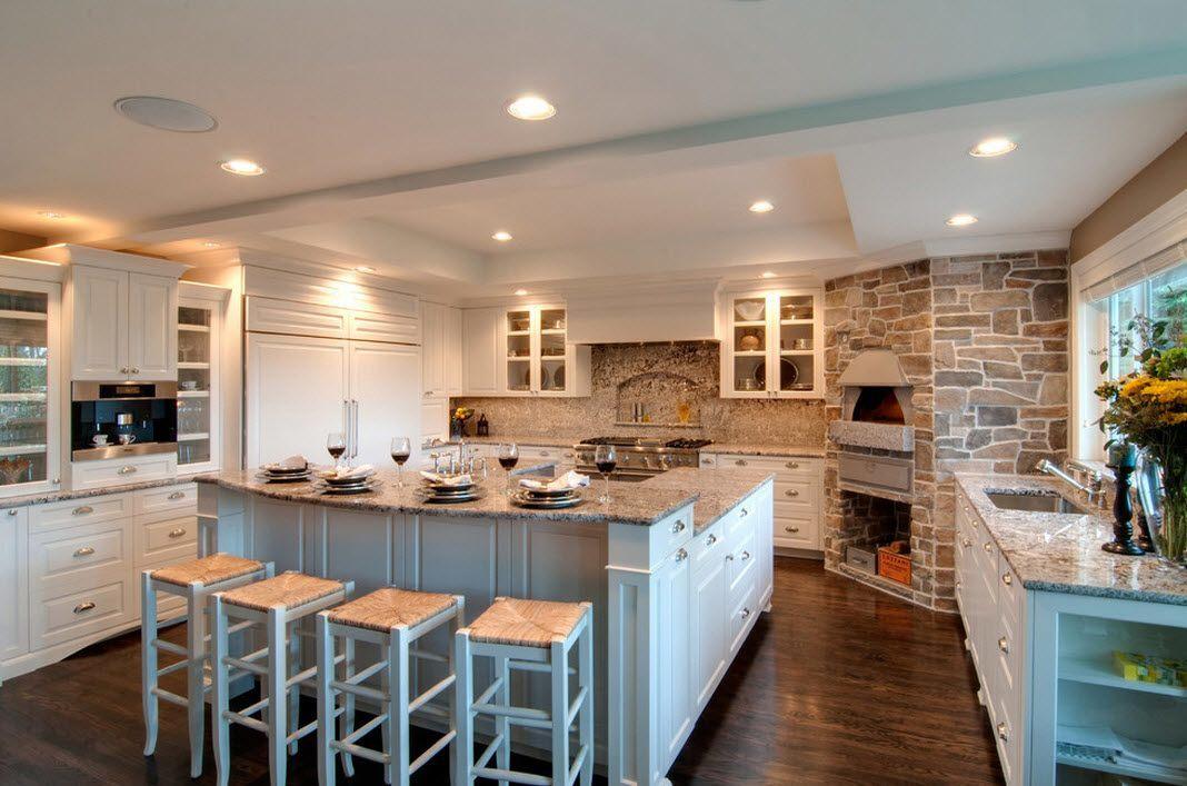 Духовка-печь из камня в интерьере кухни - фото 2