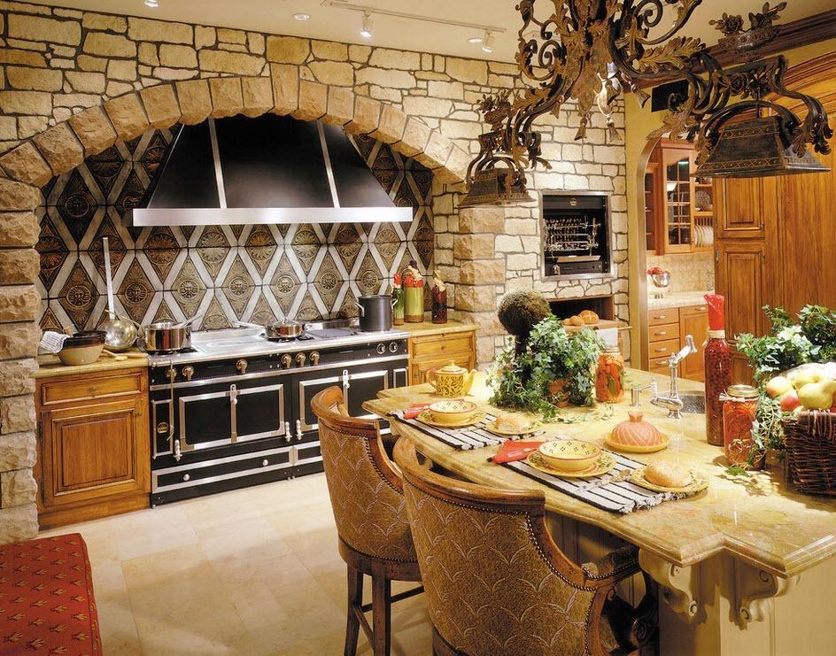 Каменная кладка в интерьере кухни - фото 1