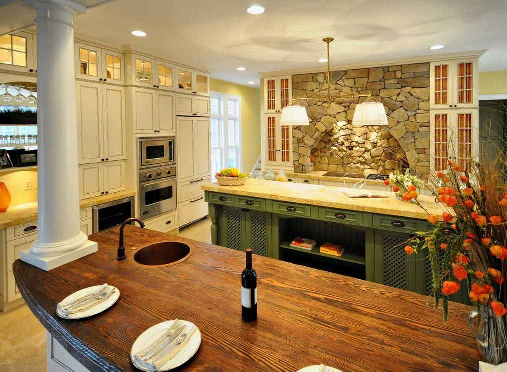 Каменная кладка в интерьере кухни - фото 2