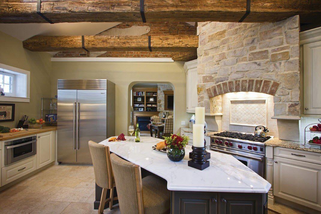 Каменная кладка в интерьере кухни - фото 3