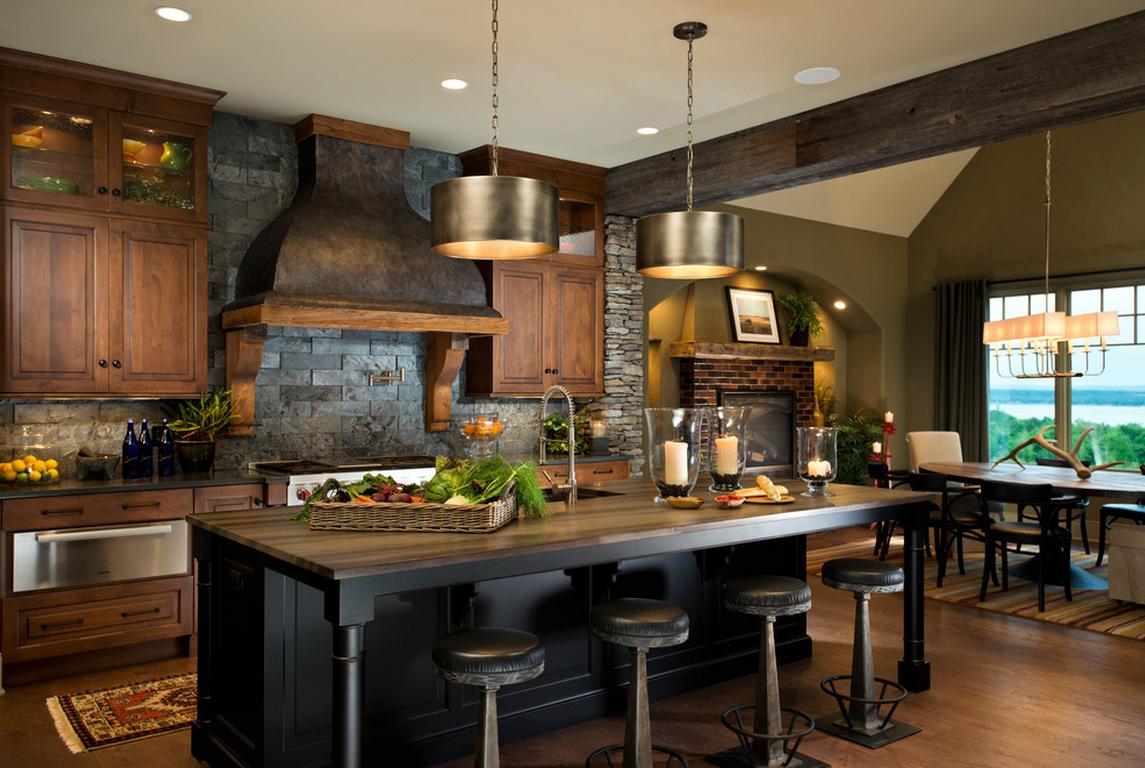 Камень и дерево в интерьере кухни - фото 3