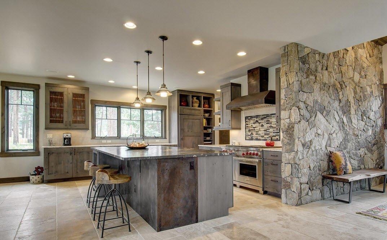 отделка стен камнем в кухне гостиной фото