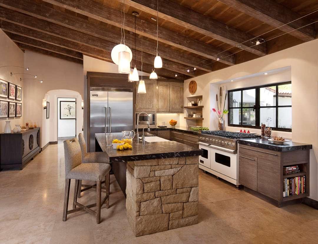 Камень и дерево в интерьере кухни - фото 6
