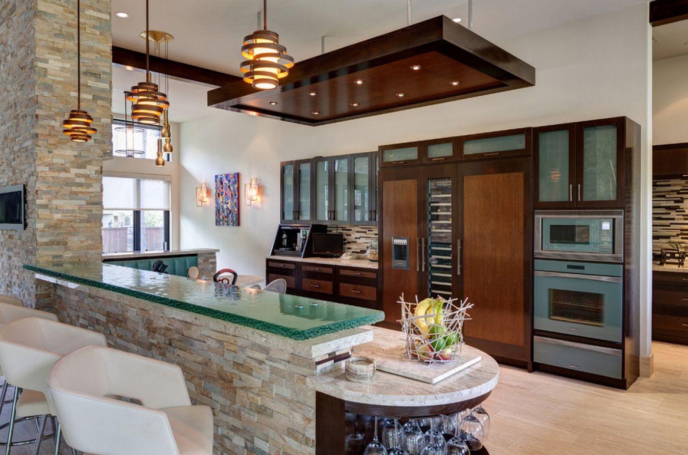 Камень и дерево в интерьере кухни - фото 9