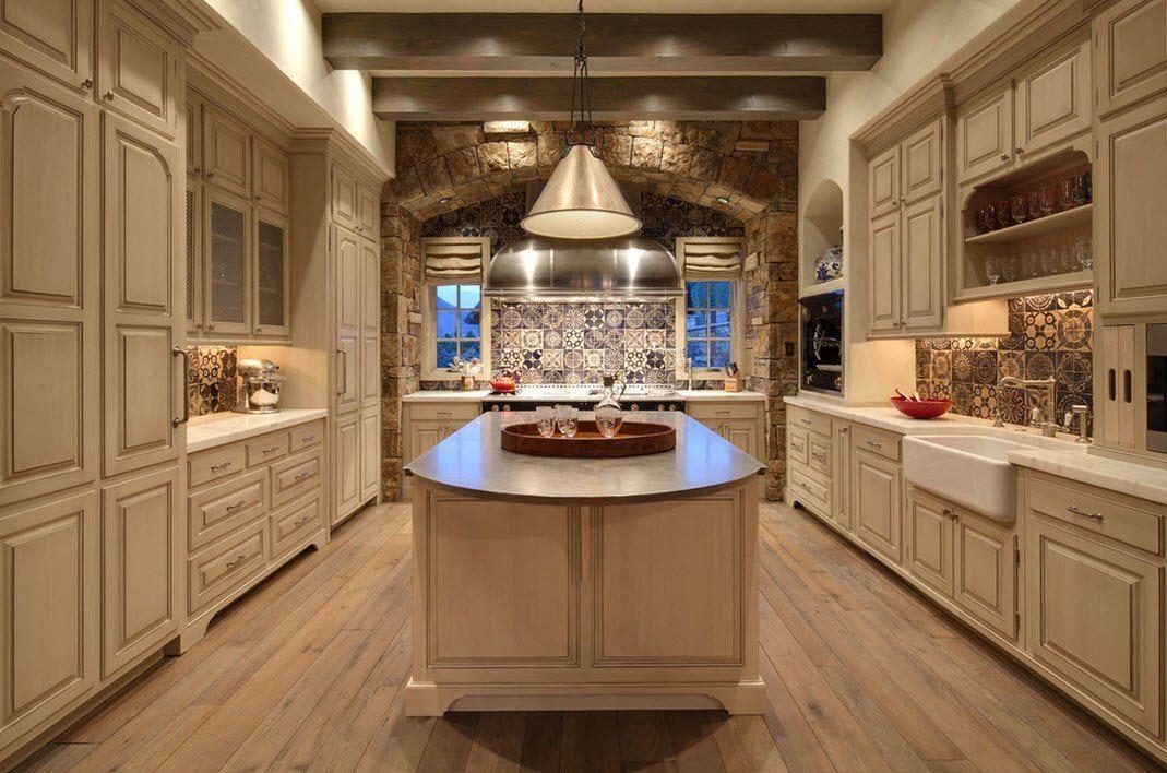 Камень в интерьере кухни с массивной столешницей- фото 2