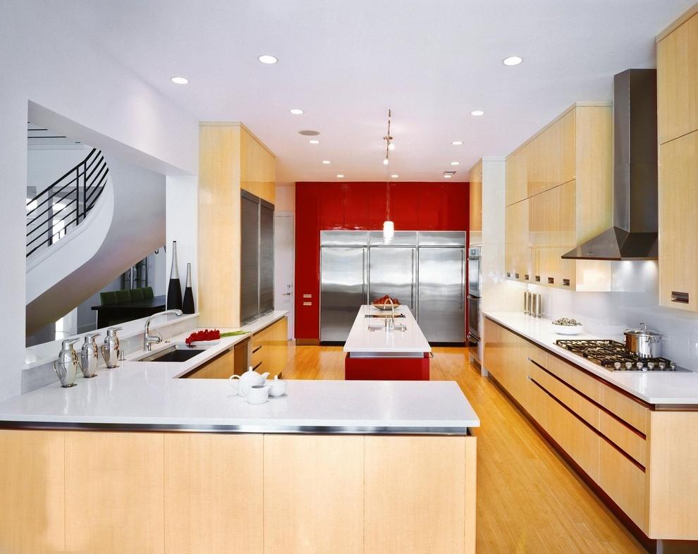 Светодиодная подсветка в интерьере кухни от Palmer Todd