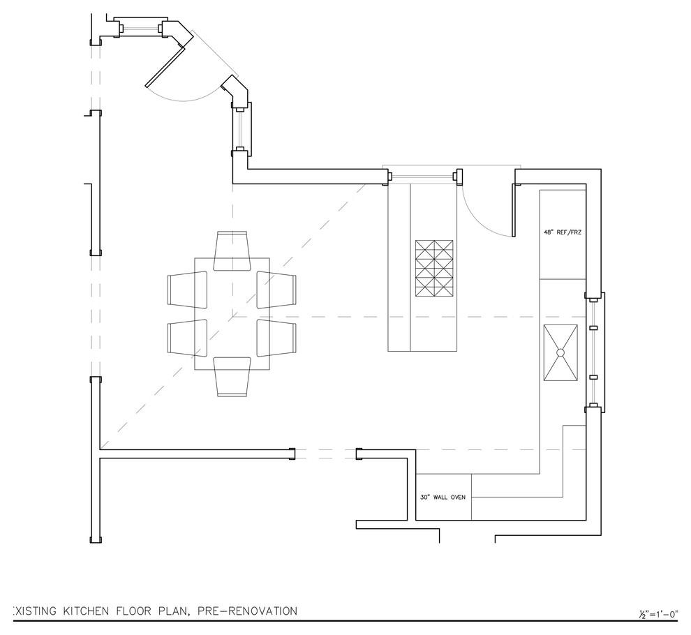 План-схема кухни до проведения реконструкции