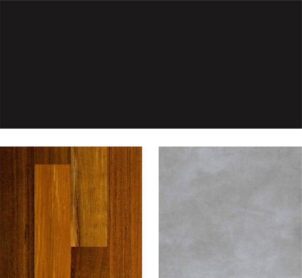 Палитра сочетания чёрного и тёплых оттенков древесины