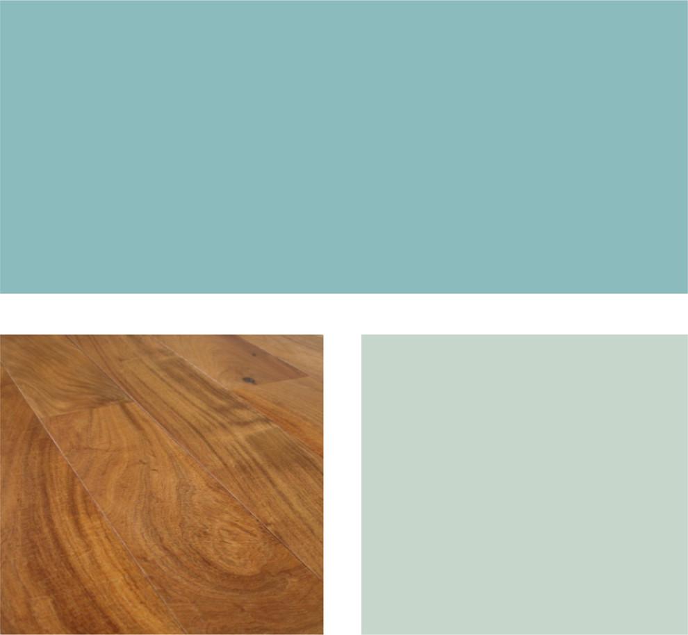 Палитра сочетания бирюзового и тёплых оттенков древесины