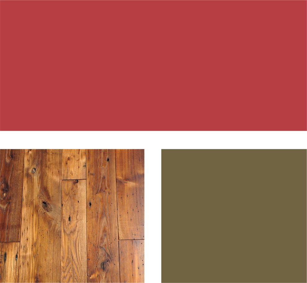 Палитра сочетания оттенков красного и тёплой древесной гаммы