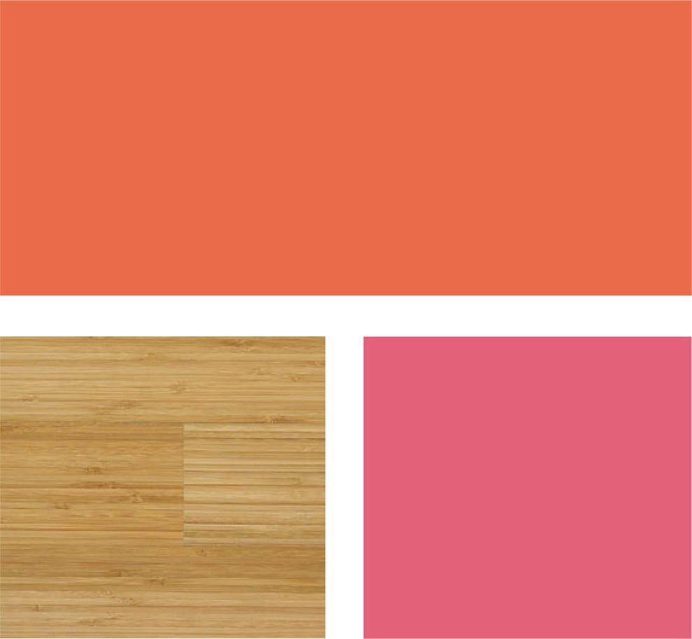 Палитра сочетания оранжевого цвета и тёплой древесной гаммы