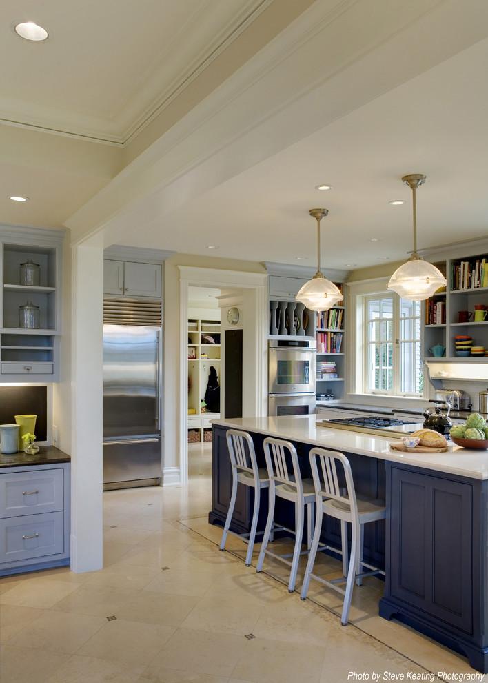 Дизайн интерьера кухни в голубых оттенках