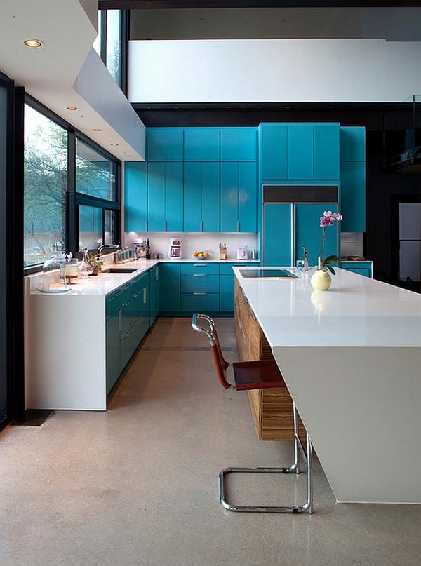Дизайн интерьера кухни в голубых тонах