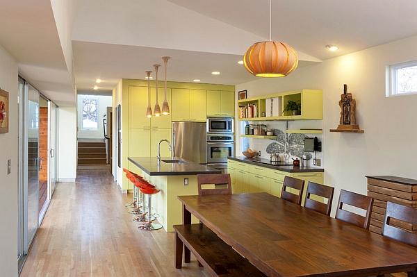 Дизайн интерьера кухни в жёлто-зелёной гамме