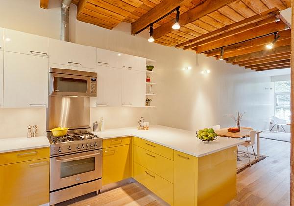Дизайн интерьера кухни в оттенках солнечного жёлтого цвета