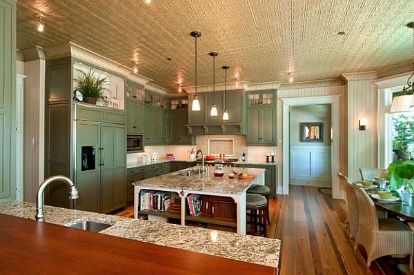 Дизайн интерьера кухни в зелёной гамме