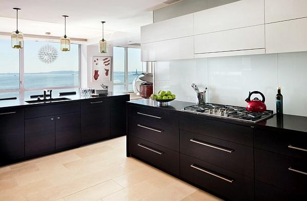 Дизайн интерьера кухни в чёрном цвете