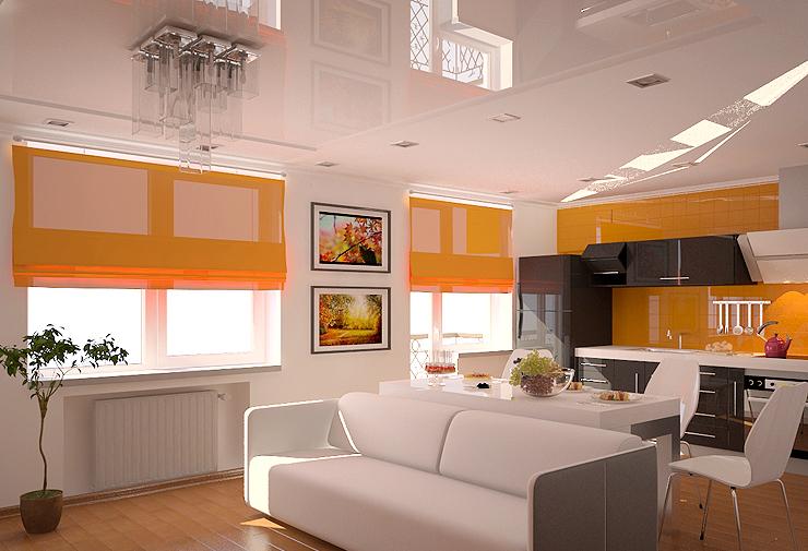 Стильный дизайн римских штор в интерьере кухни