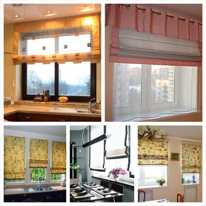 Фотоколлаж: стильный дизайн оконных штор в интерьере кухни