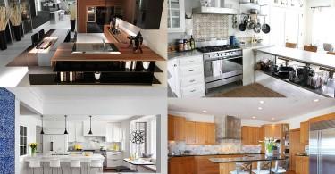 Фотоколлаж: стильные дизайны современных кухонных интерьеров