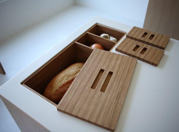 Оригинальный дизайн хлебницы в нише кухонного острова