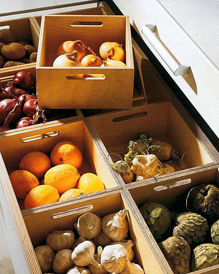 Выдвижной кухонный ящик с коробками для хранения овощей