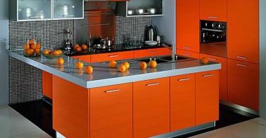 Насыщенный оранжевый цвет в дизайне интерьера кухни