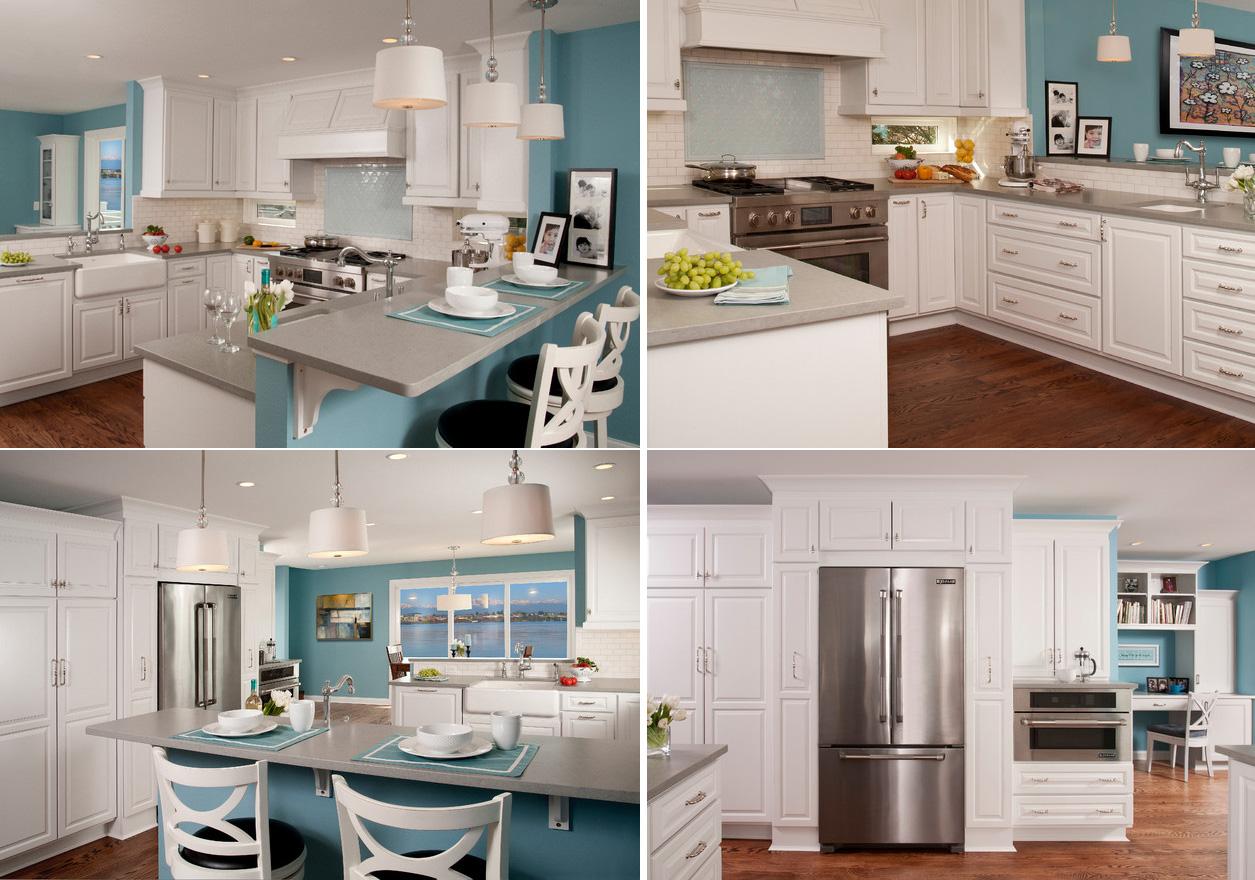 Дизайн кухни в классическом стиле с голубым декором