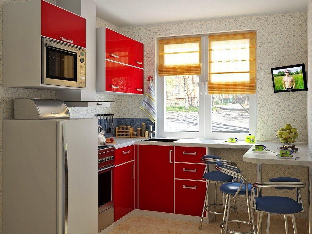 Маленький красный кухонный гарнитур