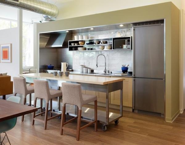 Стильный дизайн мобильного кухонного острова в интерьере