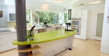 Креативный дизайн острова в стильном интерьере кухни