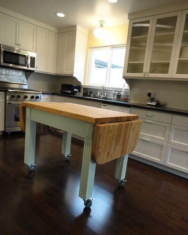 Стильный дизайн мобильного кухонного острова с откидной деревянной столешницей
