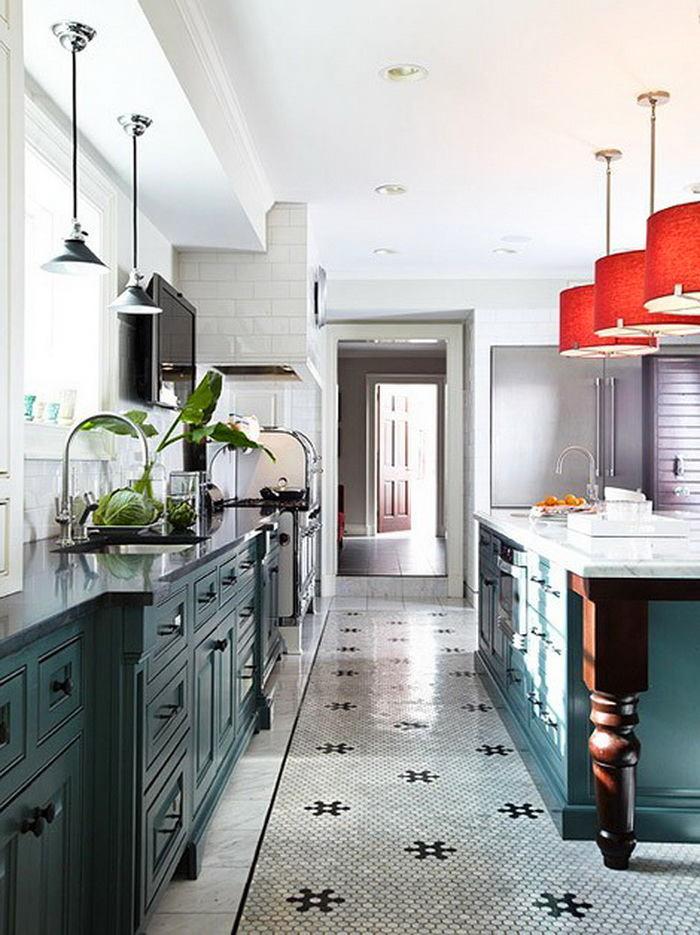 Шестигранная плитка на кухонном полу