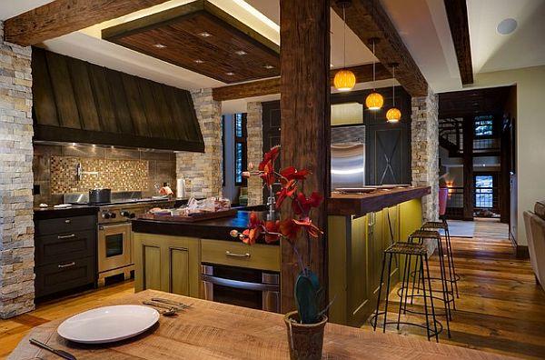 Современный дизайн кухни с прекрасным освещением