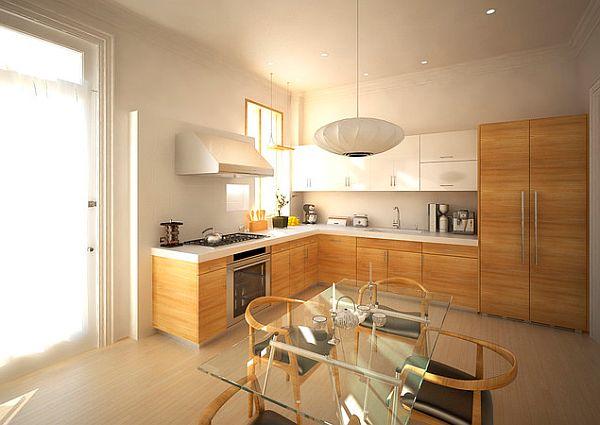 Современная L-форма кухонной мебели