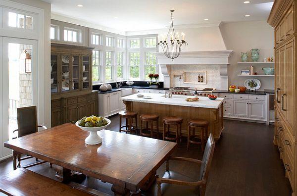 Коричневый и белый цвет мебели в традиционном кулинарном пространстве