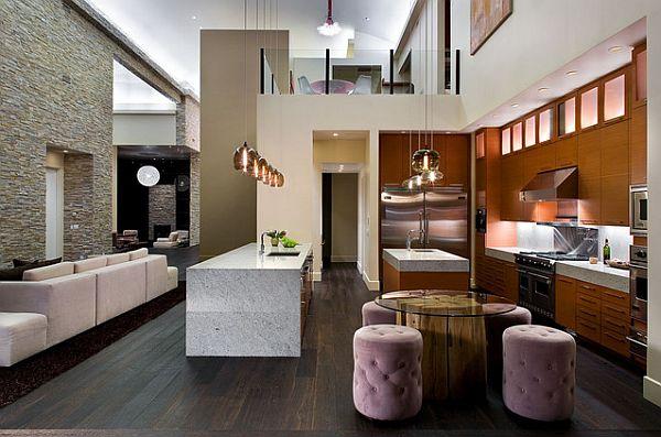 Обеденный стол из камня и бетона в современной кухне