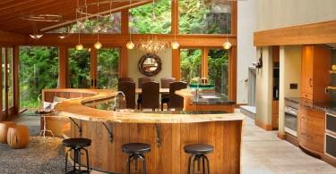 Креативный дизайн интерьера кухни из натурального дерева