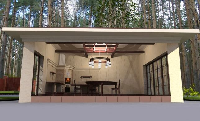 Летняя кухня в стиле модерн