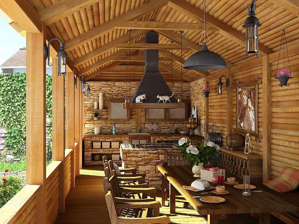 Летняя кухня в стиле кантри