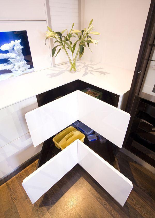 Угловые выдвижные ящики для хранения кухонных аксессуаров