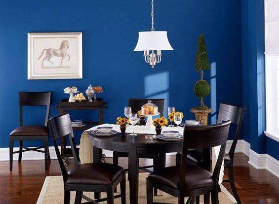 Синий цвет в оформлении кухонной стены