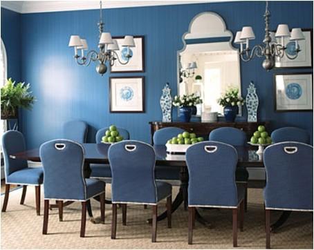 Современный дизайн кухни синего цвета